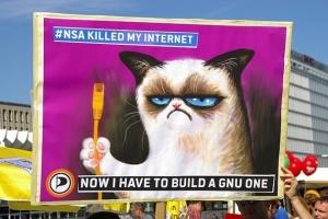 """La NSA m'a volé mon internet; maintenant je dois en construire un """"GNU""""veau - Pancarte anti-NSA sur le thème du grumpy cat, via Flickr"""