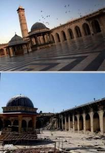 "La mosquée ""Jami al Kabir"" des Omeyyades à Alep, avant et maintenant"