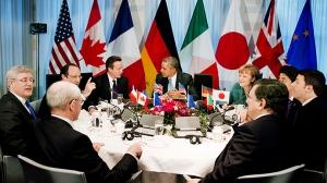 Un sommet du G7 à la résidence officielle du premier ministre néerlandais à La Haye le 24 mars 2014, en coulisses du Sommet sur la Sécurité Nucléaire - Photo AFP/Jerry Lampen