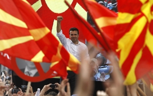 Zoran Zaev, le leader de l'opposition du SDSM, pendant une manifestation à Skopje, en mai 2016 - Photo AP
