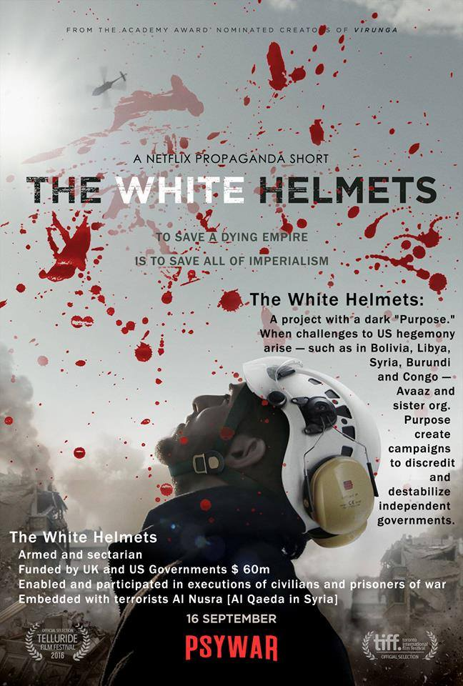 Détournement de l'affiche du documentaire des Casques Blancs de l'OTAN - Graphisme par Cory Morningstar et WrongKindofGreen