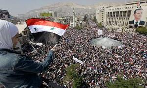 Manifestation de masse en soutien au gouvernement Assad, en 2011
