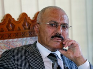 Yemen's former President Ali Abdullah Saleh pauses during an interview with Reuters in Sanaa